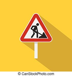 Roadworks sign icon, flat style - Roadworks sign icon. Flat...