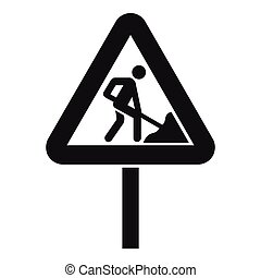 Road works sign icon, simple style