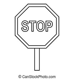 Stop traffic sign icon, outline style - Stop traffic sign...