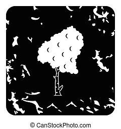 Birch tree icon, grunge style - Birch tree icon. Grunge...