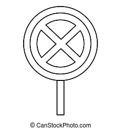 Clearway sign icon, outline style - Clearway sign icon....