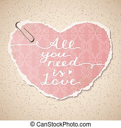 all you need is love, vector lettering on old paper texture...