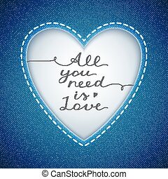 all you need is love, vector lettering in heart frame on...