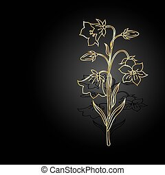 Gold flowers with shadow on dark background.