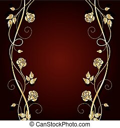 Gold flowers with shadow on dark background. - Gold flowers...