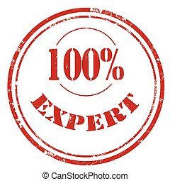Expert-red stamp - Grunge rubber stamp with text 100%...