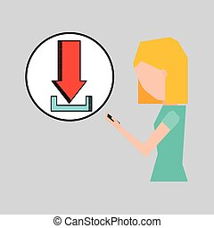 girl using phone download icon graphic vector illustration...