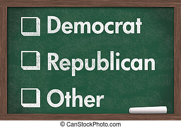 Choosing your political party, Chalkboard with a piece of...