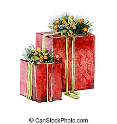 Watercolor Christmas presents on a white background