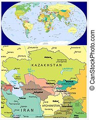 Central Asia and World - World map and Central Asia