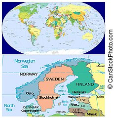 Norway Sweden Finland Denmark and World