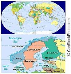Norway Sweden Finland Denmark and World