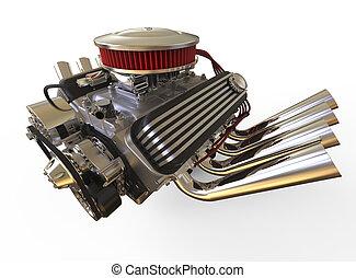 Hot rod V8 Engine 3D render - Hot rod V8 Engine Isolated on...