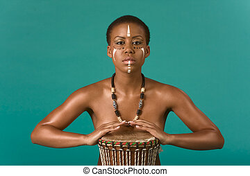 indigenous nude African American woman with drums - Portrait...