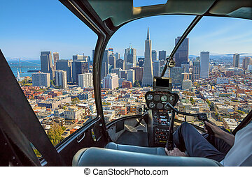 Helicopter in San Francisco - Helicopter cockpit flies in...