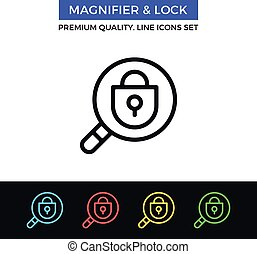 Vector magnifier and lock icon. Thin line icon - Vector...