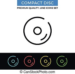 Vector compact disc icon. Thin line icon