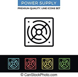 Vector power supply icon. Thin line icon - Vector power...
