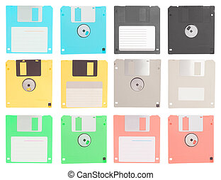 set of floppy disk isolated