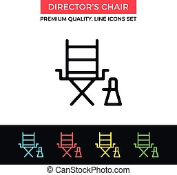 Vector director's chair icon. Thin line icon - Vector...