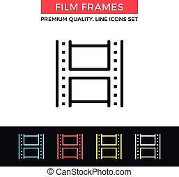 Vector film frames icon. Thin line icon - Vector film frames...