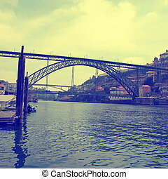 Ribeira, Dom Luis I Bridge and Douro river,Porto(Portugal) -...