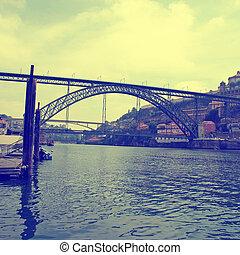 Ribeira, Dom Luis I Bridge and Douro river,Porto(Portugal) -...