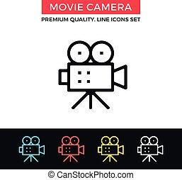 Vector movie camera icon. Thin line icon - Vector movie...