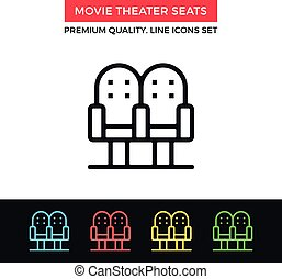 Vector movie theater seats icon. Thin line icon - Vector...