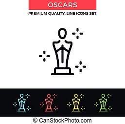 Vector Academy Awards icon. Oscar statuette. Thin line icon...