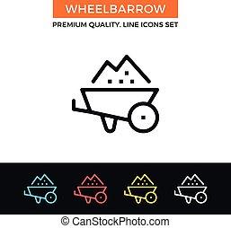 Vector wheelbarrow icon. Thin line icon - Vector wheelbarrow...
