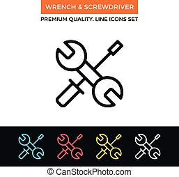Vector wrench and screwdriver icon. Thin line icon