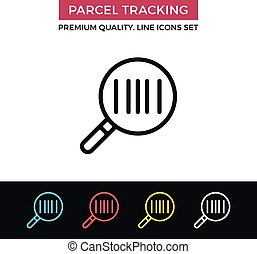 Vector parcel tracking icon. Thin line icon