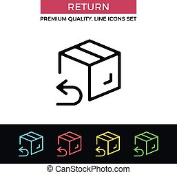 Vector return shipping icon. Thin line icon - Vector return...