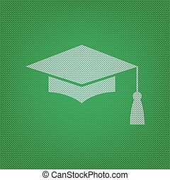 Mortar Board or Graduation Cap, Education symbol. white icon on