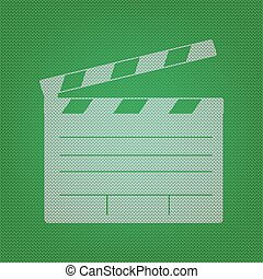 Film clap board cinema sign. white icon on the green knitwear