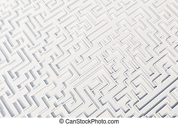 Top view of white labyrinth. 3d rendering