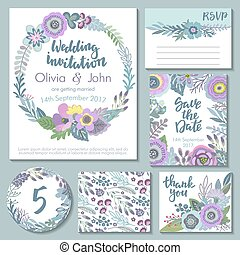 Vector wedding collection. Templates for invitation, thank...