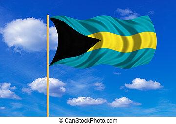 Flag of Bahamas waving on blue sky background