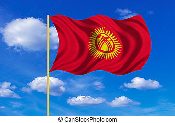 Flag of Kyrgyzstan waving on blue sky background -...