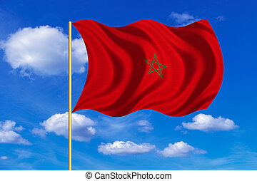 Flag of Morocco waving on blue sky background