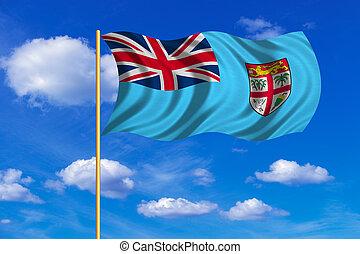 blu, cielo, ondeggiare, bandiera, fondo, Figi