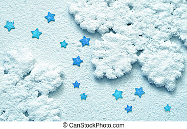 Snowflakes and star. Blue Christmas background. Winter. -...