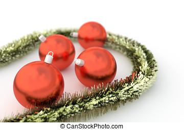 Christmas balls with garland - Realistic christmas balls...