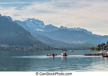 Annecy Lake in French Alps - Beautiful view of the Annecy...