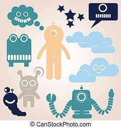 Space alien Robots - a vector illustration set of Space...