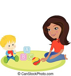 mommy and baby - a vector illustration of a mommy and a baby...