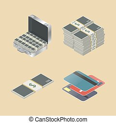 Set of financial icons, vector illustration.