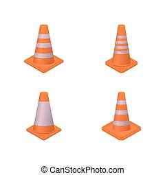 Cone sign road repair isometric style, vector illustration....