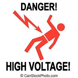 Danger High Voltage - Illustration of warning sign of high...